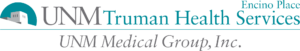 "The turquoise and grey logo, reading ""UNM Truman Health Services, Encino Place, UNM Medical Group, Inc."""